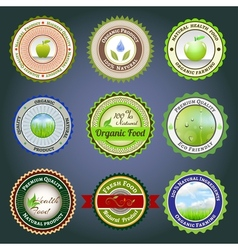 Organic labels badges and stickers vector