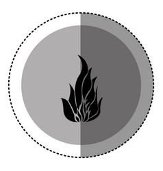 sticker monochrome circular emblem with flame icon vector image
