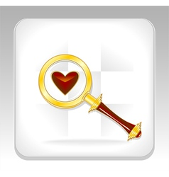Gold magnifier icon or button with heart vector