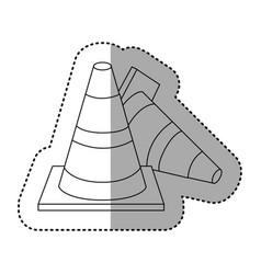 figure cones of fallen traffic icon vector image