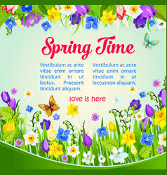 Spring time holiday wish or greeting poster vector