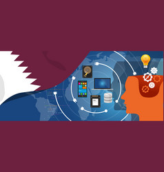 Qatar information technology digital vector