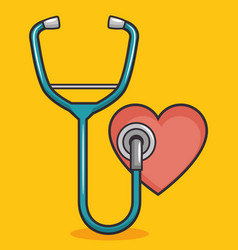Heart with stethoscope design vector