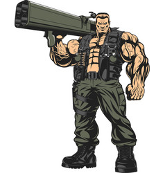 Armed strong soldier vector