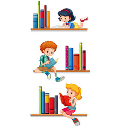 Children reading books on shelves vector