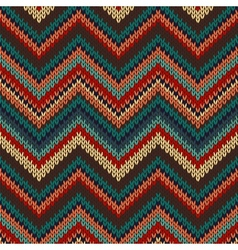 Style Seamless Knitted Pattern Red Blue Brown vector image