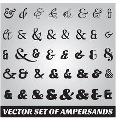 Set of ampersands from different fonts vector