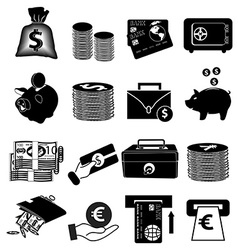 Money finance icons set vector image