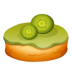 Doughnut with kiwi frosting vector
