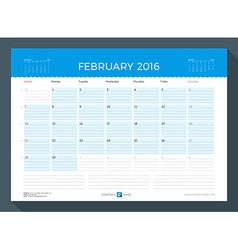 February 2016 monthly calendar planner for 2016 vector