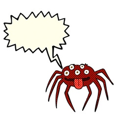 Cartoon gross halloween spider with speech bubble vector
