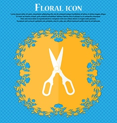 Scissors icon floral flat design on a blue vector
