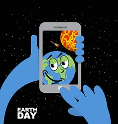 Earth day planet earth selfie in sun planet earth vector