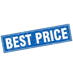 Best price blue square grunge stamp on white vector
