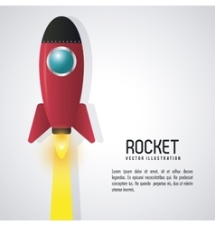 Rocket desing spaceship icon flat vector