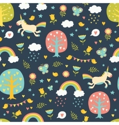 Lovely seamless pattern with cute unicorns vector