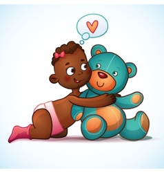 African American girl hugs Teddy Bear toy on a vector image