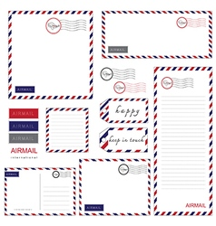 Airmail letter set vector