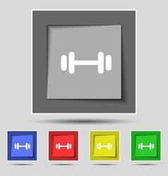 Barbell icon sign on original five colored buttons vector