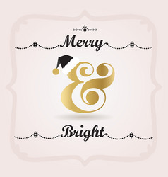 black pink and golden merry and bright decoration vector image vector image