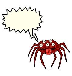 cartoon gross halloween spider with speech bubble vector image