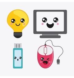cartoon icon set Kawaii and technology vector image vector image