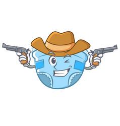 Cowboy baby diaper character cartoon vector