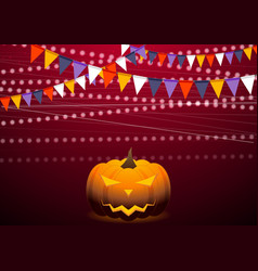 Crimson background with party flags and jack-o vector