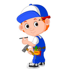 cute carpenter cartoon vector image