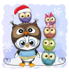 cute cartoon penguin and five owls vector image