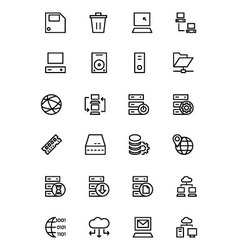 Database and server line icons 2 vector