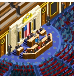 Election infographic parliament hall us isometric vector
