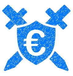 Euro guard shield grunge icon vector