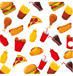 Fast food hot dog chicken pizza soda seamless vector