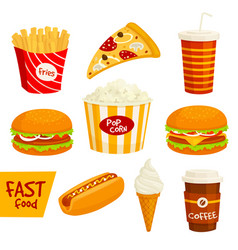 fast food sandwich drink snack icon set vector image