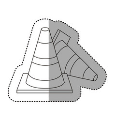 figure cones of fallen traffic icon vector image