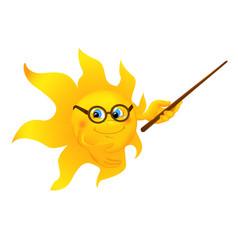 Funny cartoon sun pointing vector image