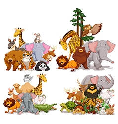 Group of different types of animals vector