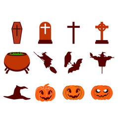 halloween icon set flat isolated on white vector image vector image