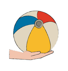 hand holding beach ball vector image