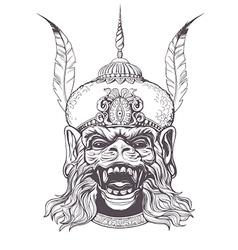 Hanuman grunge print vintage style vector