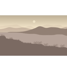 Hills at night scenery with river vector image