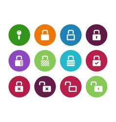 Locks circle icons on white background vector image vector image