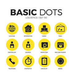 logistics flat icons set vector image