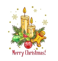 Merry christmas card in sketch style vector