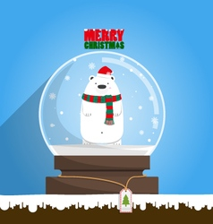 Merry christmas white polar bear in snow globe vector