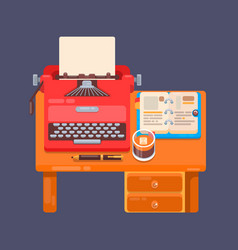 Realistic typewriter workplace organization vector