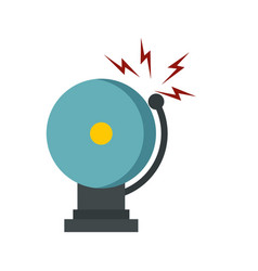 Ringing fire alarm bell icon flat style vector