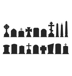 Set of gravestone silhouettes isolated on white vector
