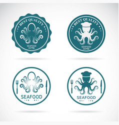 set of octopus seafood labels on white vector image
